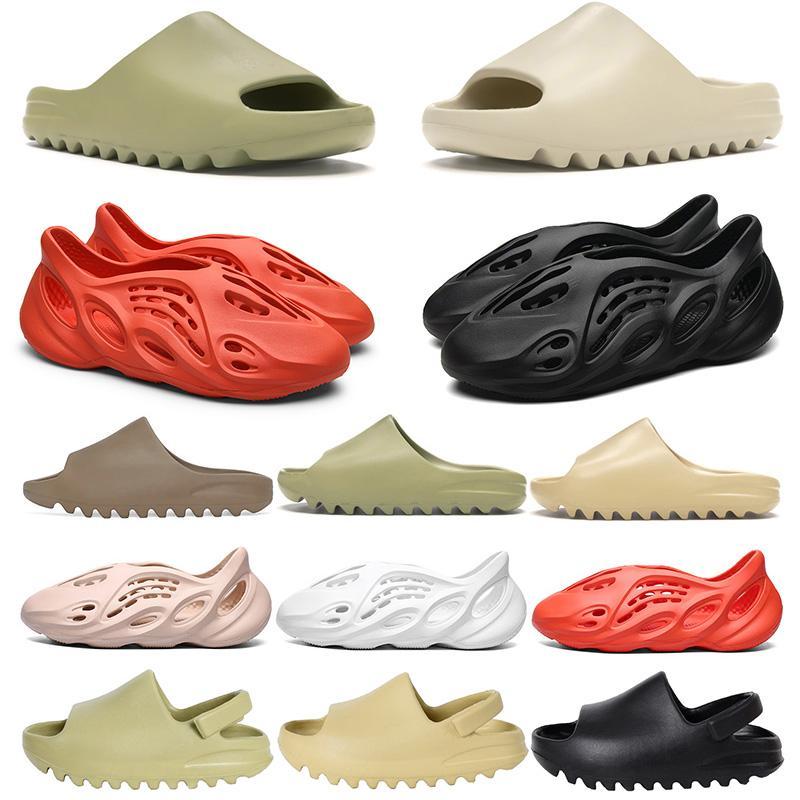 New Arrivals Kanye West Slide Foam runner Womens Mens Slippers Childrens Kids Shoes Bone Resin Desert Sand Earth Brown Beach Sandals