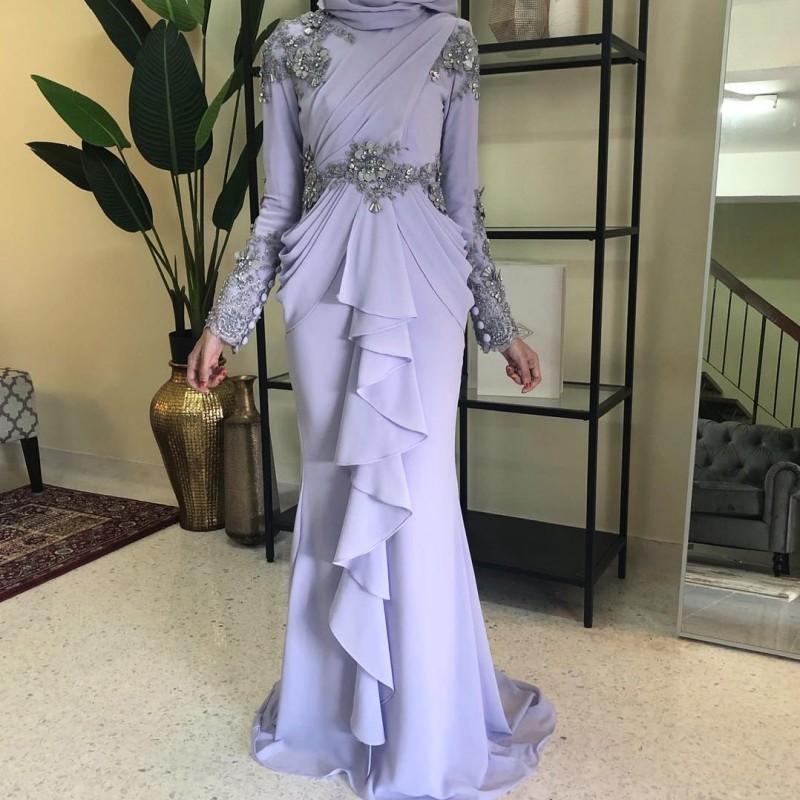 Summer Chiifon Muslim Evening Dresses High Neck Long Sleeves Crystal Beaded Prom Dress Evening Gowns Vestidos De Fiesta De Noche