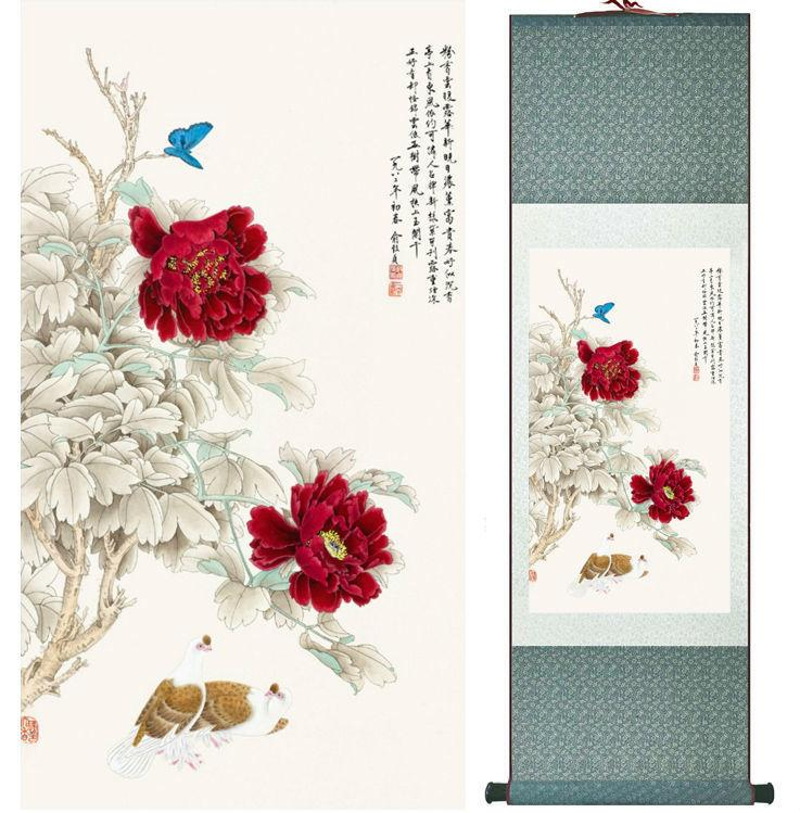 Penoy Flowers And Butterfly Painting Chinese Wash Painting Home Decoration Painting Chinese Traditional Art Panting No.32710