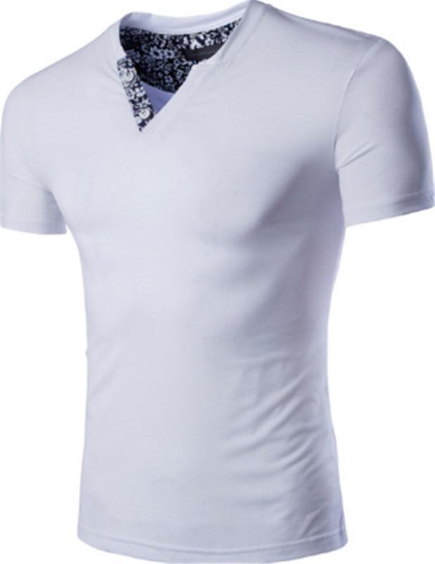 T Gömlek Casual Katı Ters Üçgen Yaz Giyim Moda Nefes Erkek Genç Tasarımcı Erkek Slim Tops