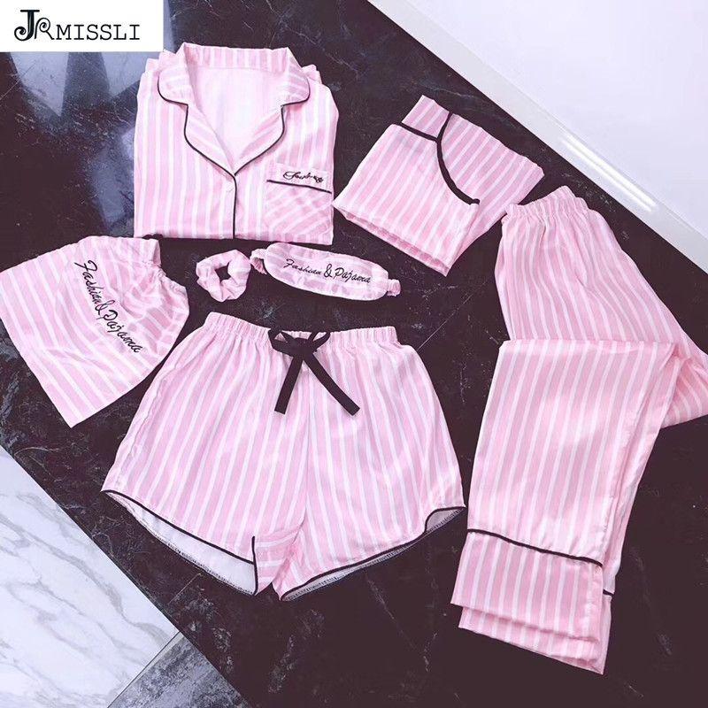 JRMISSLI منامة النساء 7 قطع منامة مجموعات الوردي الحرير منامة ملابس خاصة الحرير مثير ملابس البيت ارتداء مجموعة بيما امرأة T200110