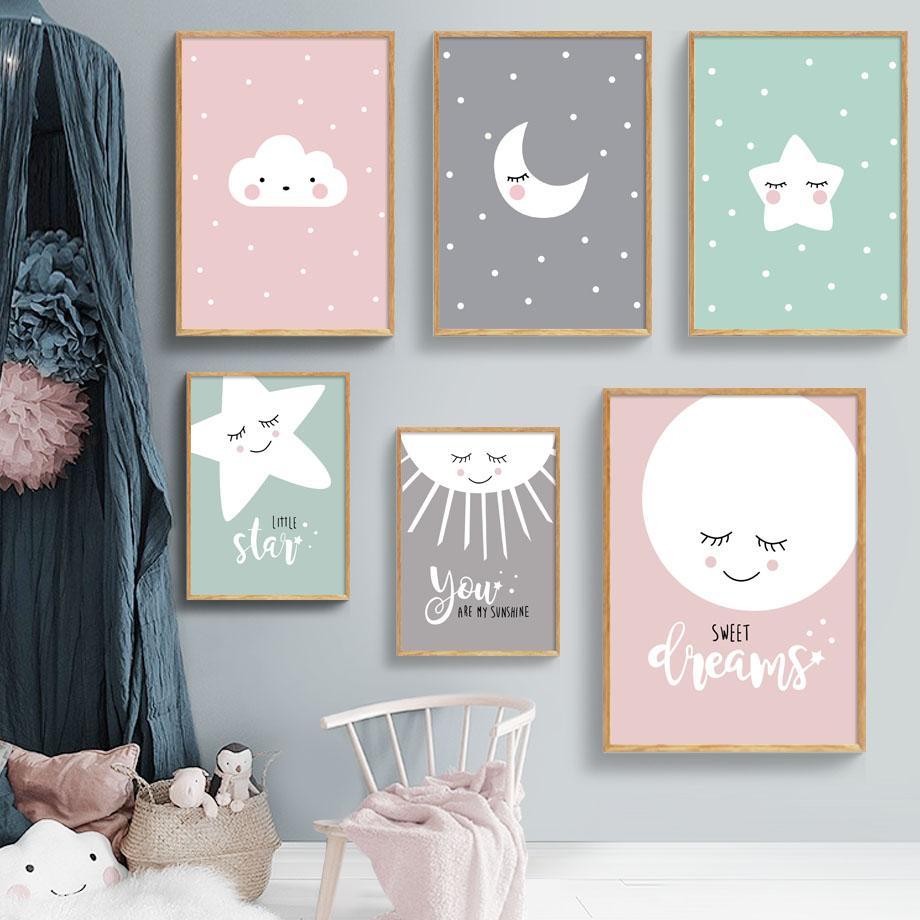 Nuvens dos desenhos animados Lua Estrelas Nordic Poster Wall Art Print Pintura Da Lona Retratos Da Parede Do Bebê Crianças Sala de Cópias Da Lona Home Decor