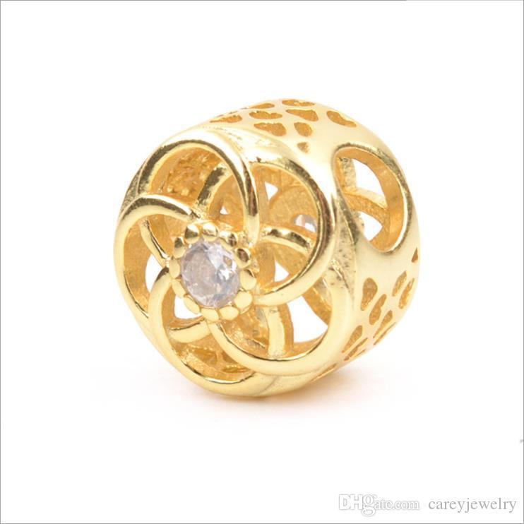 Новый 925 стерлингов стерлингов Charm Heart 14K Gold Clear Outlook Create Silver Plating CZ DIY Pandora Beads Braceletnecklace Heart Ювелирные изделия Wit SDXB