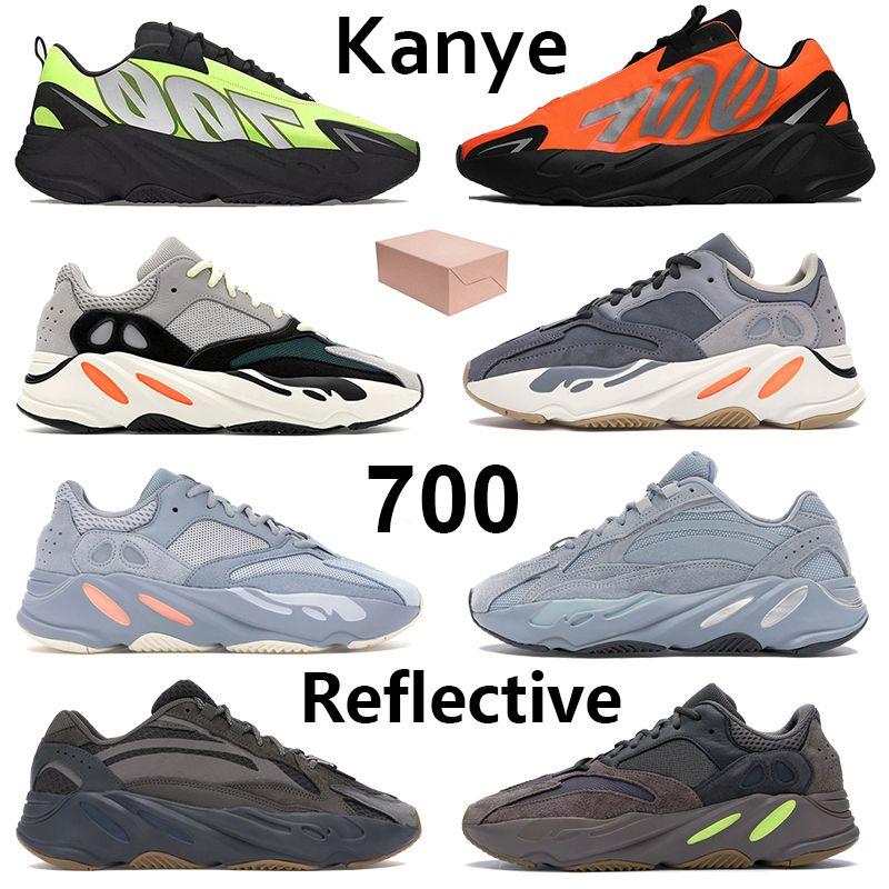 Kanye 700 Homens Mulheres Running Shoes Reflective Tie-dye óssea Phosphor Laranja Vanta Geode Tephra estáticos analógicos esportes dos homens formadores com caixa