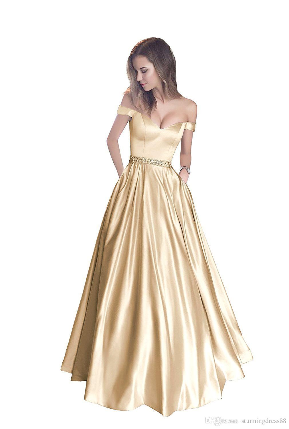 Gold Simple Cheap Prom Dresses Long 2020 Off the shoulder With Pockets Sweetheart A line Crystal Ribbon Sash Short Sleeves Evening Gowns