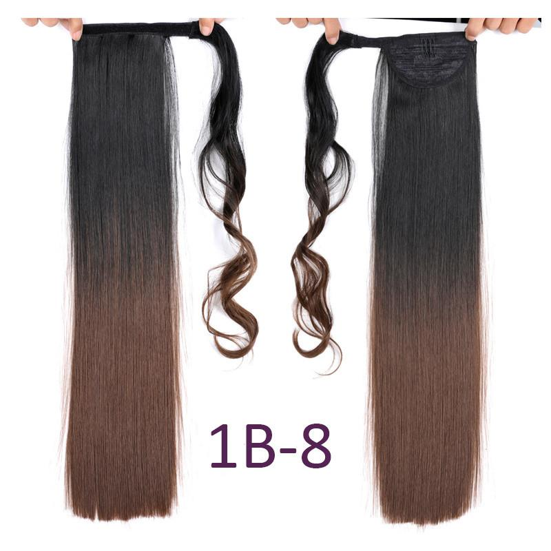 22 Inch Women Long Straight Clip In Ponytail False Ponytail Hairpiece With Hairpins 110g/pc Synthetic Hair Pony Tail Hair Extension