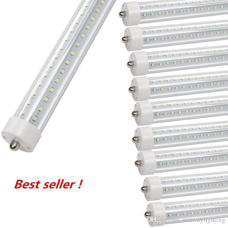 T8 5ft LED Cooler Door Tubes Lights 45w AC110V FA8 Single Pin Dual-End Powered Ballast Bypass Clear Len 6500K F60T12 Replacement Fluorescent