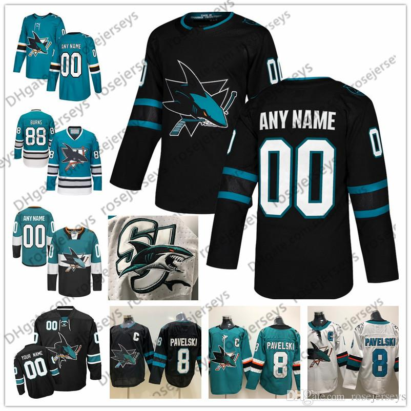 buy popular 8f1fa 7106c 2019 Custom San Jose Sharks 2019 Black Third Jersey Any Number Name Men  Women Youth Kid White Teal Green Nyquist Burns Karlsson Meier Pavelski From  ...