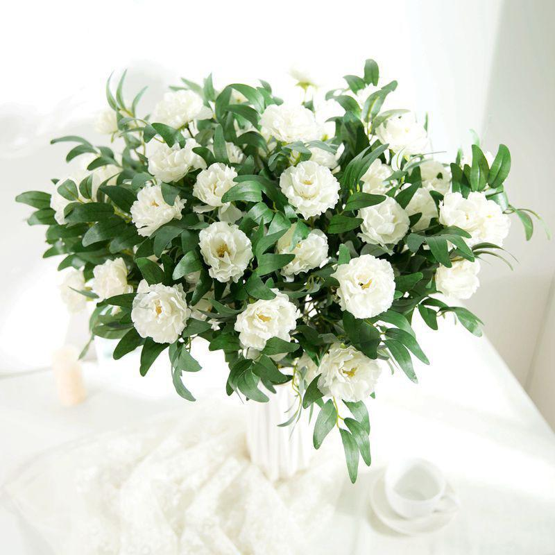 3Heads White Artificial Bouquet Rose Flower Wedding Decoration Floral Fak Fresh Forest Flower Arrangement Home Decor Flower Bouquet