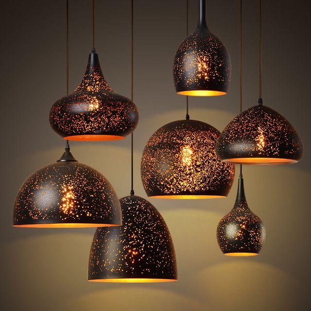 램프 철 파라 살라 조명기구 설비 매달려 바 펜던트 조명 중공 산업 광택 식사 빈티지 조정 주방