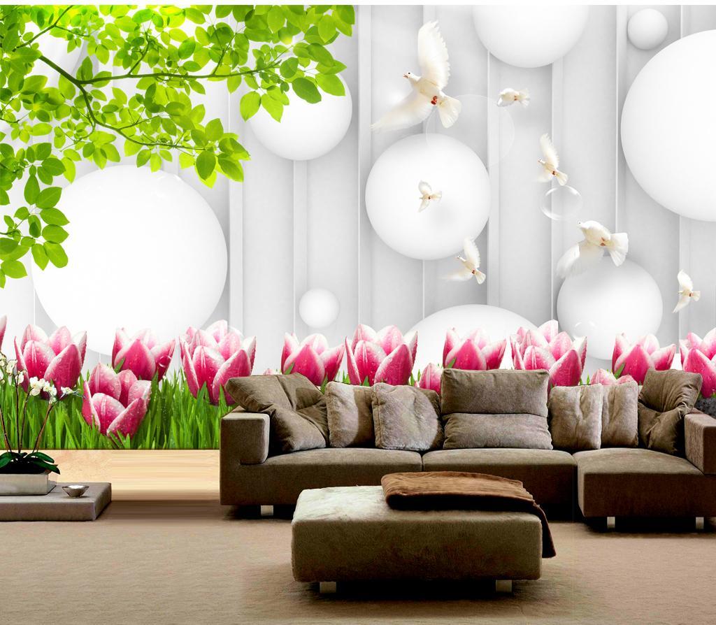 2019 Yeni Pembe Lale Beyaz Şamandıra Peyzaj Illüstrasyon Iç Dekorasyon HD Güzel Duvar Kağıdı