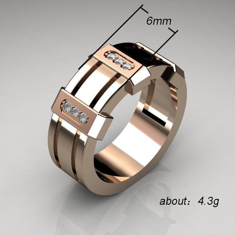 placcato grande larghezza 6 millimetri di lusso dell'oro giallo 316 di titanio dell'acciaio 18K chiave greco da uomo anello fascia di nozze d'argento donna oro