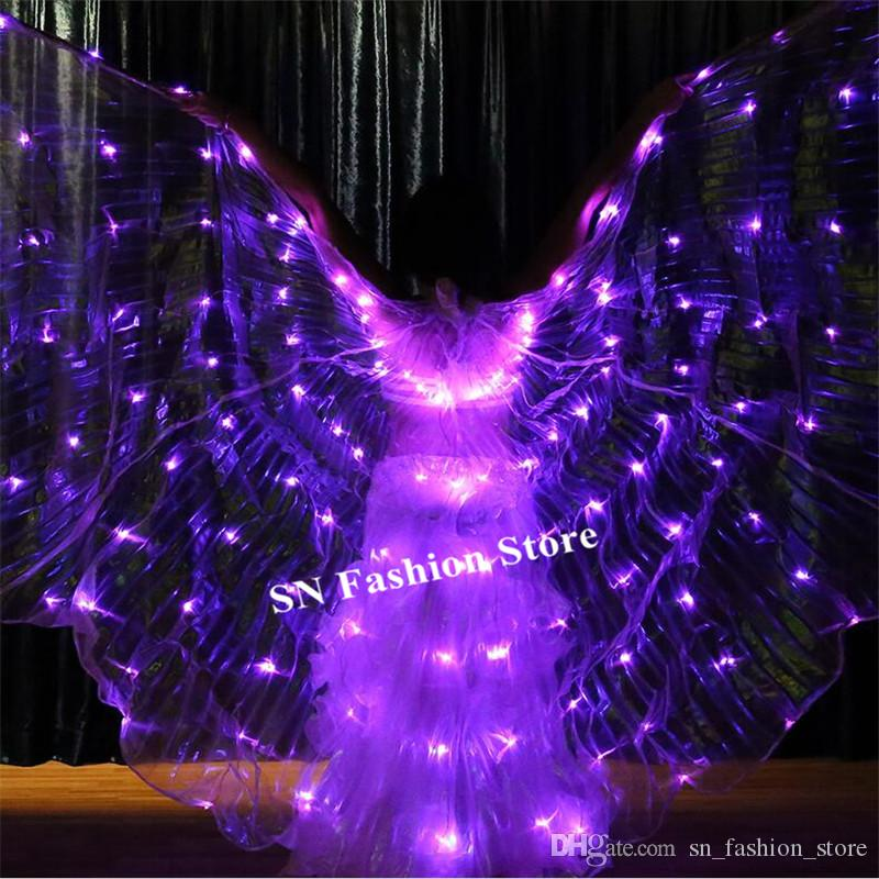 K04 Bellydance 6 colors change colorful led light wings perform dress wings butterfly wears led costumes bar luminous cloak led outfit cloth
