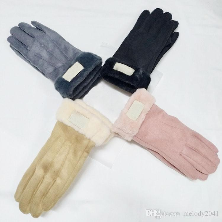 2019 New Winter Women Leather Gloves Matt Fur Gloves PU Leather Five Fingers Gloves 4 Colors With Tag Wholesale
