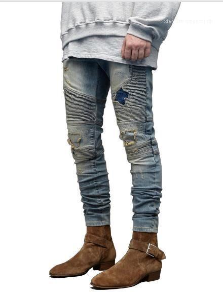 Hip Hop Fashion style Jeans Casual Ripped trous drapées Pantalons Crayon Hommes Vêtements Hommes Jeans Designer