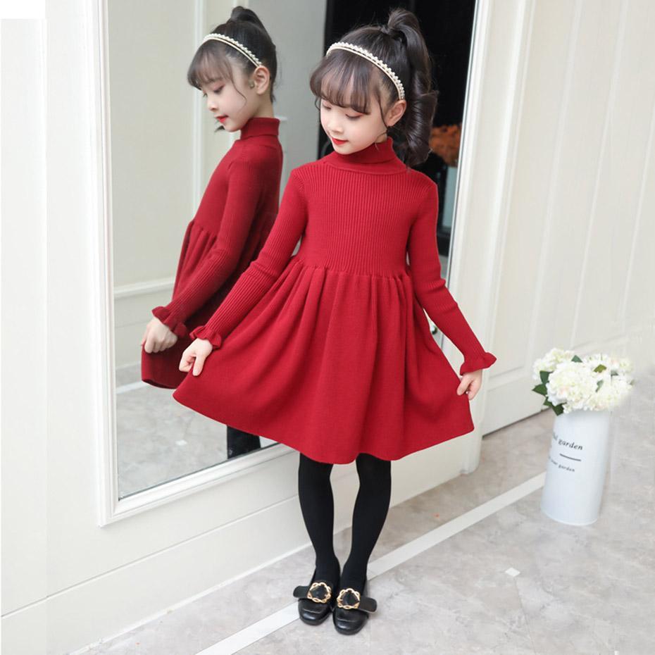 Vestido de niñas vestido de punto sólido niñas tortuga de tortuga suéter vestido niña otoño invierno niños niñas ropa 6 8 10 12 14 años