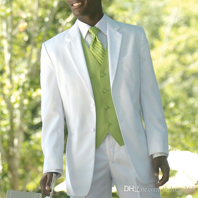 Custom Made Groom Tuxedo, Bespoke White suits with light green vest waistcoat, Tailor Made Wedding Suits for men