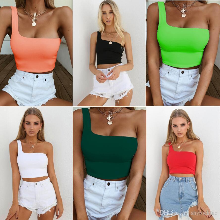 2019 Frauen One-Schulter Crop Top Sommer-dünne Render Short Frauen Strappy Behälter Slash Tops Bralette IN Frauen Sexy Breathable Fitness Tops