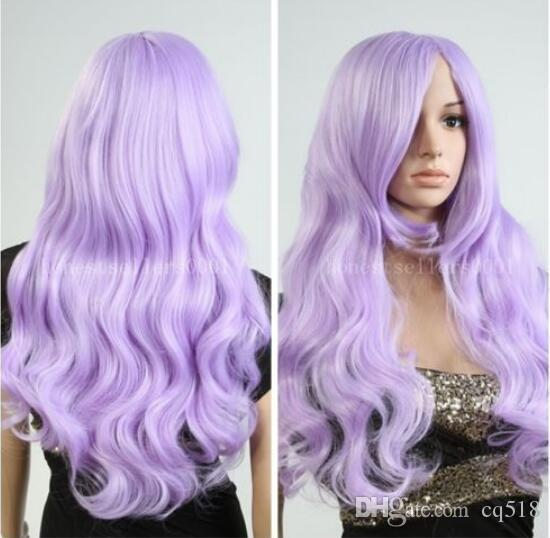 WIG LL HOT Free >>>>New Fashion wig New Charm Women's Long Light Purple Wave Full Lolita wigs