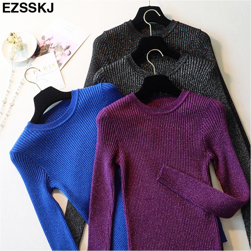 2019 cálido brillo Otoño Invierno sexy suéter vestido mujeres o-cuello brillante suéter mini vestido femenino sólido básico de punto bodycon vestido Y200418