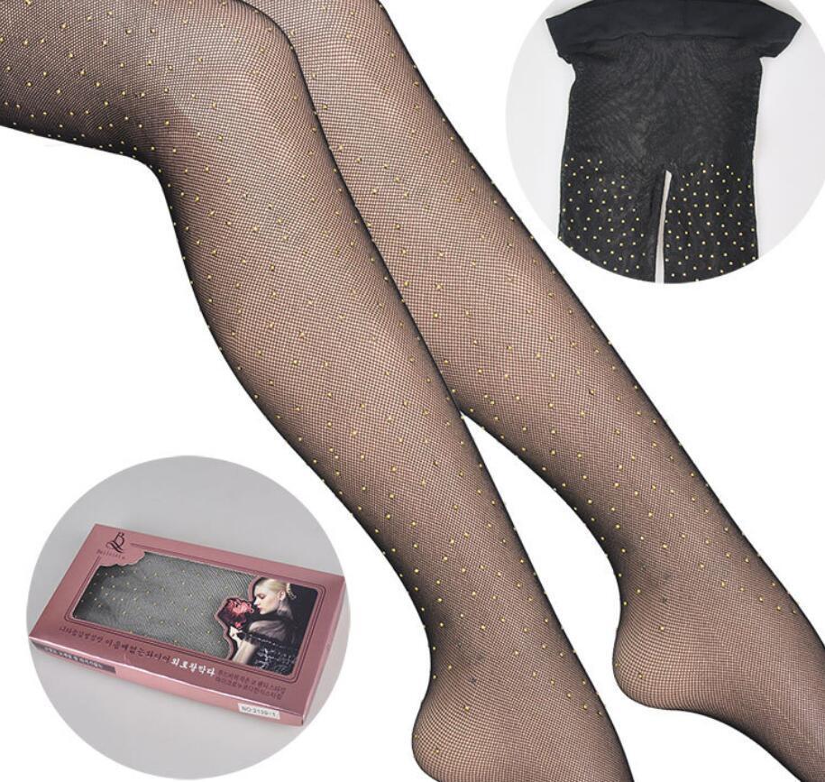 2adet / Kadın külotu Sparkle Rhinestone Fishnet çorap Kristal Yüksek Bel Mesh Hollow Out Pantyhose paketi