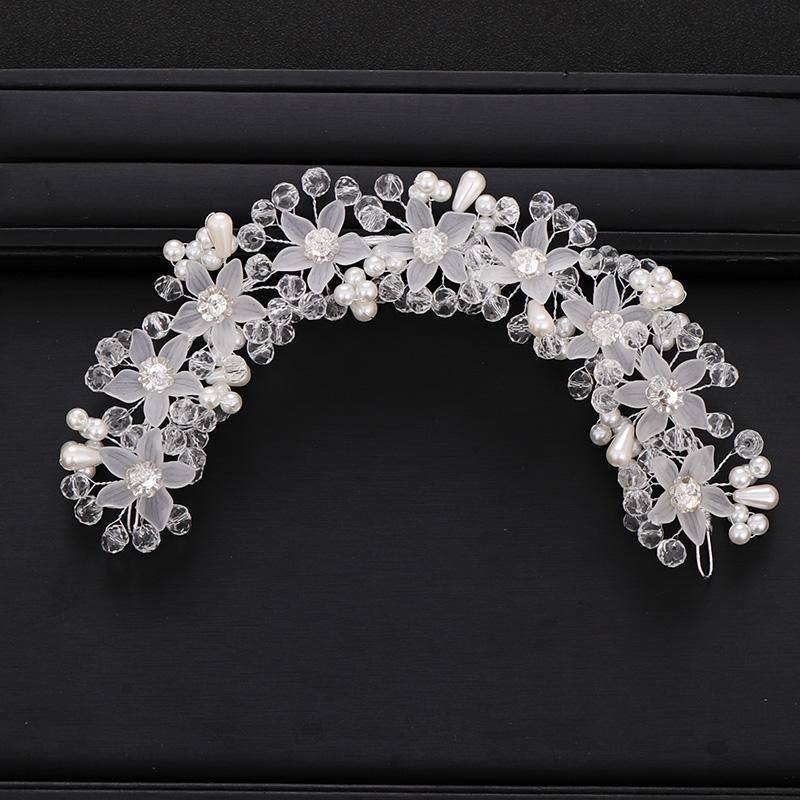Trendy Tiara casamento Headband Crystal Pearl Flor cor prata nupcial Hairband Headpiece Partido Jewelry Acessórios de cabelo do casamento