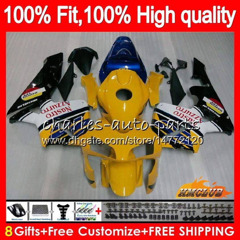 OEM Инъекция Для HONDA CBR 600RR 600F5 CBR600F5 CBR600 RR 03 81HC.129 CBR600RR CBR 600 RR F5 03 04 синий желтый 2003 2004 100% Fit обтекателя