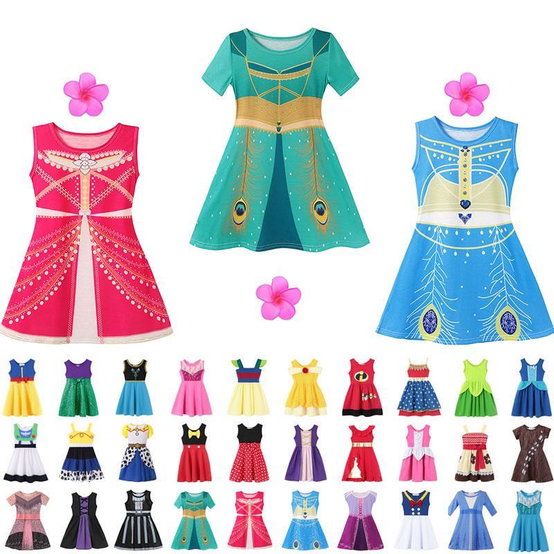 37 스타일 어린 소녀 공주 여름 만화 어린이 어린이 공주 드레스 캐주얼 의류 아이 여행 Frocks 파티 의상 무료 배송