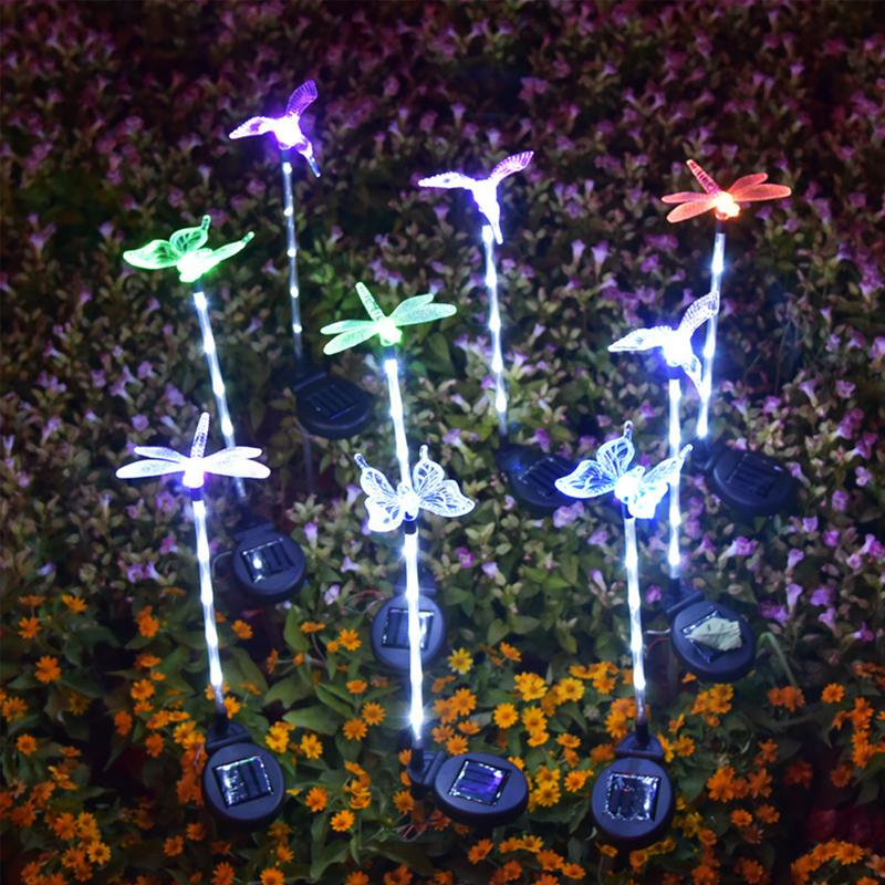 태양 잔디 램프 (6 개) LED가 흰색 + 다채로운 LED 잠자리 나비 벌새 땅이 태양 정원 장식 조명 3PCS 조명