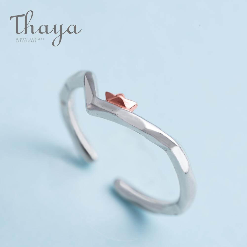 Thaya per cavalcare i venti e rompere le onde design anello di barretta in oro rosa S925 argento gioielli fatti a mano per le donne regalo Y19061003
