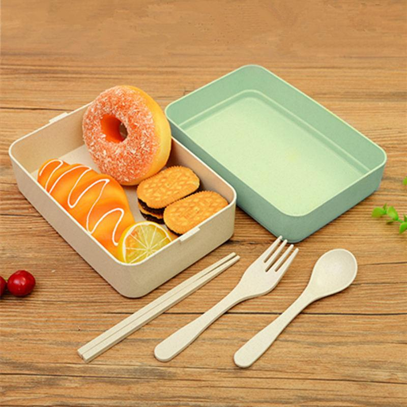 Visork Flatware Set Stainless Steel Metal Chopsticks Spoon and Fork Set Portable Tableware With Box for Home Restaurant Camping Travel School Office 1 Piece Random Color