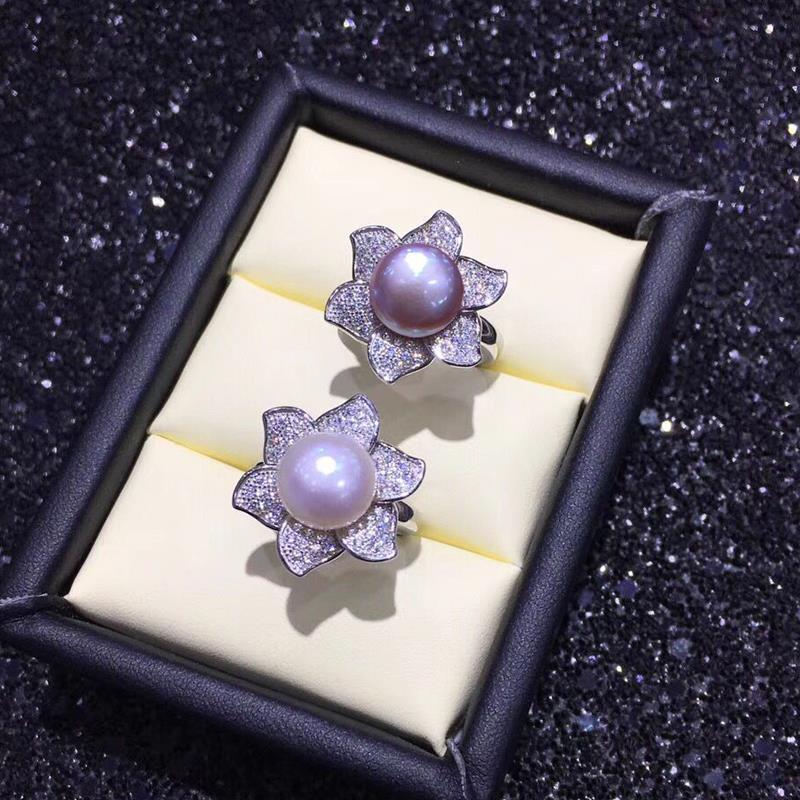 Mintha naturelles bagues en perles pour les femmes Nouvelle perle d'eau douce Bijoux Bague Grande taille Flower Party Argent 925 Fine Jewelry