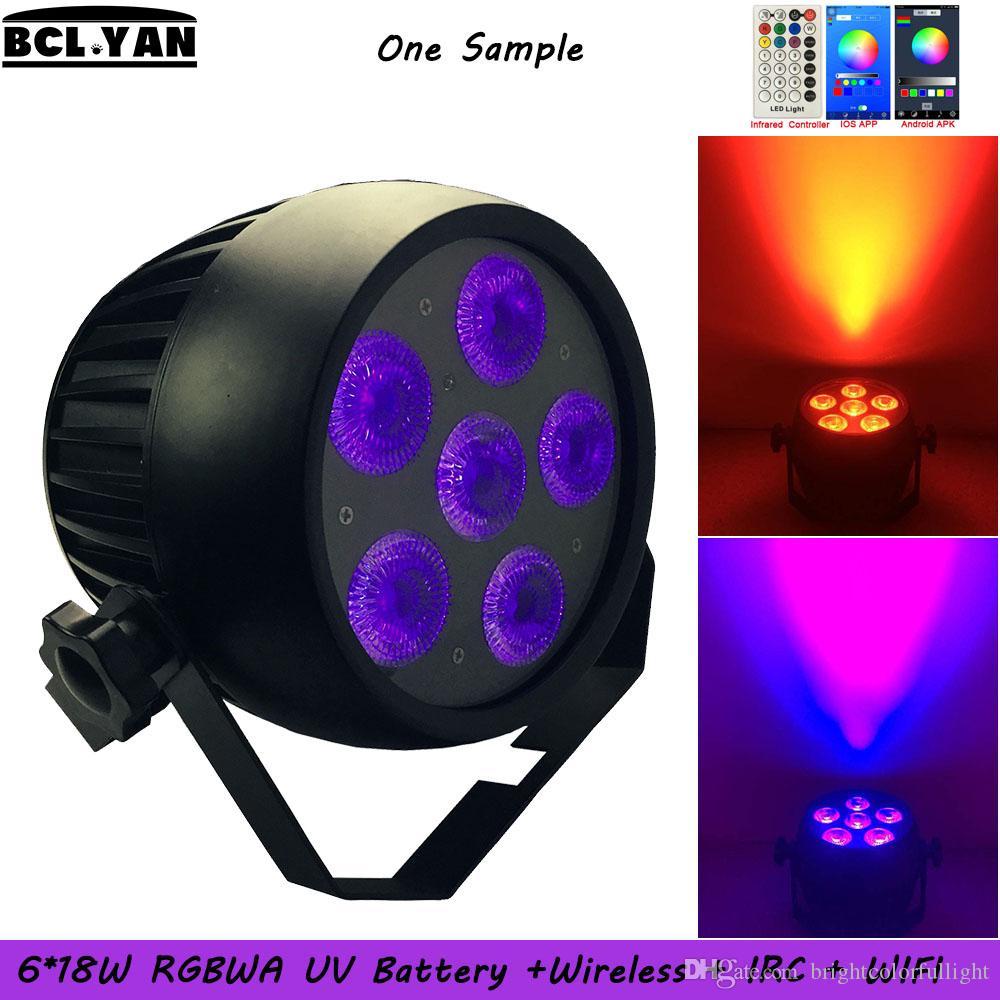 NEW Waterproof RGBWA(UV) 6 IN 1WiFi Smart OLED battery wireless dmx par Led Uplighting for Stage Wedding DJ Event 6pcs*18W