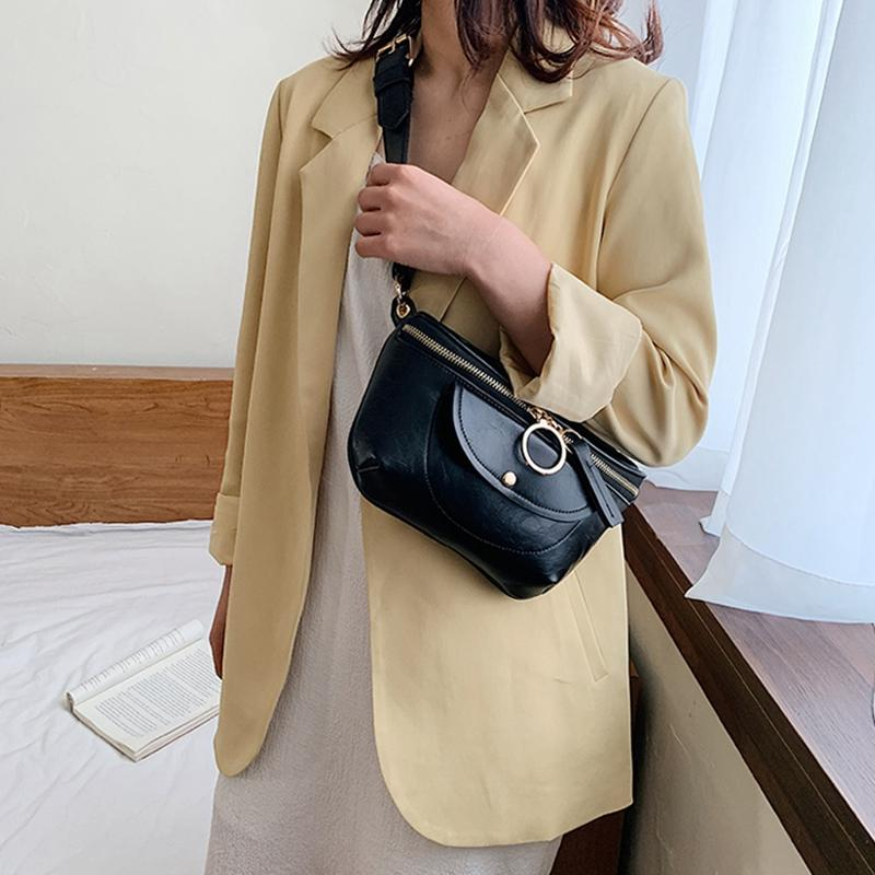PU-Leder Messenger Bag Brusttasche Wilde Kette Schulter Messenger Einfache Handtasche Wilde Schulter Kasten Taille