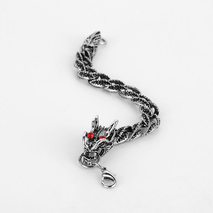 Punk Silver Chain Animal Bracelet Red Crystal Diamonds Dragon Bracelets Hip Hop Men Casual Personality Bangle