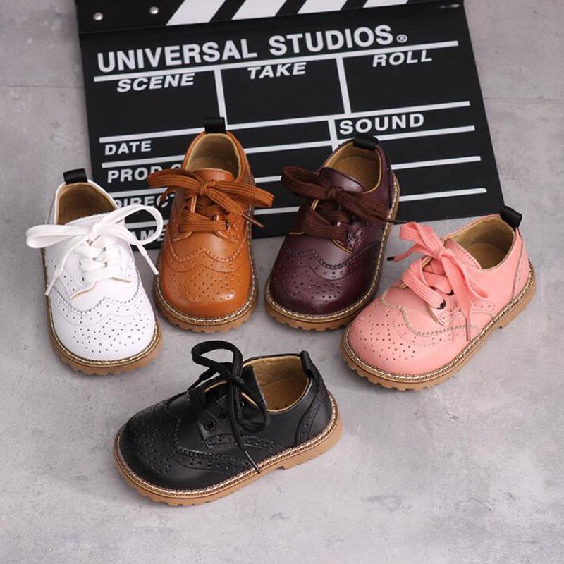 Otoño del resorte nuevos niños zapatos de cuero genuinos de las muchachas de los zapatos de un solo músculo de la vaca super suave tamaño de los zapatos de cuero único del 21 al 30 T200604