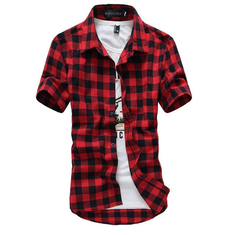 Wholesale- Rot und Schwarz-kariertes Hemd Männer Shirts 2016 neue Sommer-Mode Chemise Homme Herren Karierte Hemden Kurzarmhemd Männer Günstige