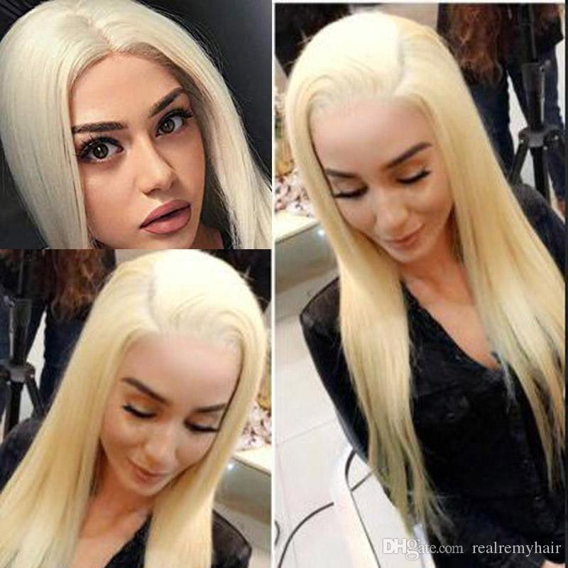 613 شقراء كامل الرباط الباروكات مع شعر الطفل 150 الكثافة حريري مستقيم الشعر البشري الغراء أقل البرازيلي العذراء الشعر الباروكات