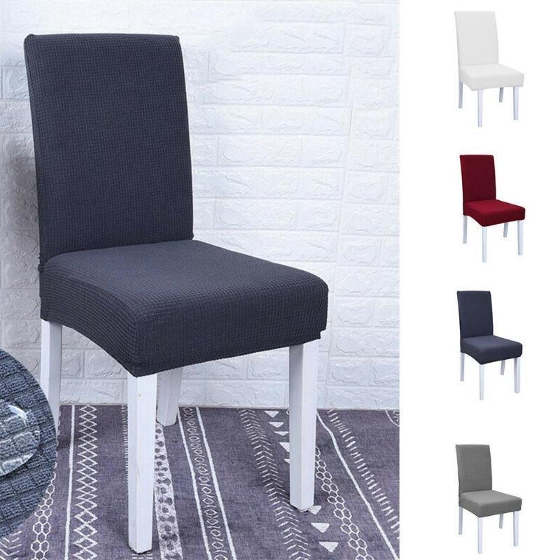 Толстый сплошной цвет крышка стула полиэстер стрейч эластичный для столовой чехлы комната чехлы свадебный банкет отель кухня Cha F7R7
