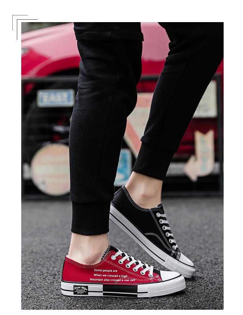 Paar der Frauen der Männer 2019 neue Segeltuch-Schuh-Jugend schwarze und rote Schuhe Freizeit-Schuhe Students Daily Dress Gummi weich Sohle