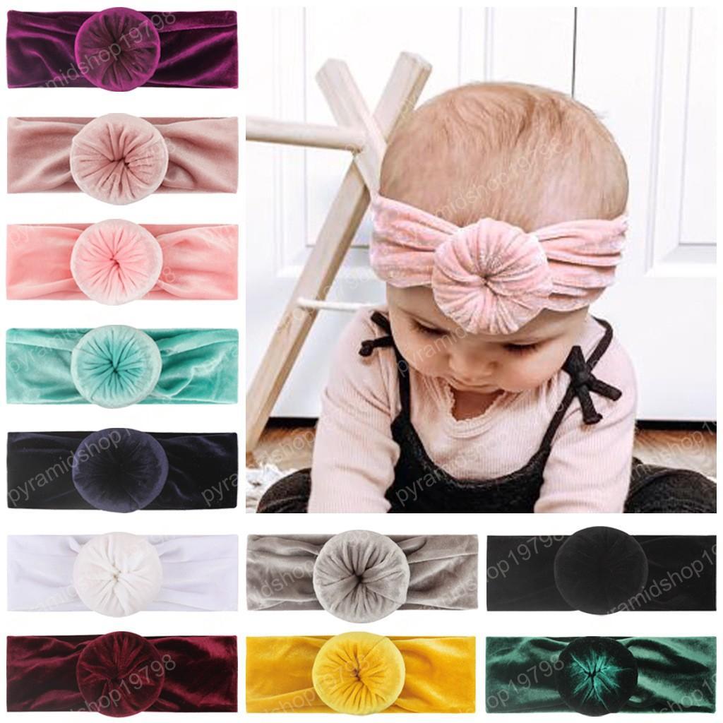 Kids Doughnut Headband Girl Baby Pleuche Turban Head Wrap Knot Hair Band Kids Headbands 11 Colors