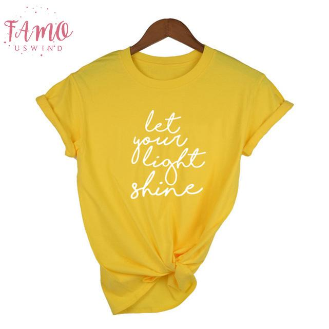 Tees cristiani per le donne lasciate che la vostra t-shirt leggera T Summer Fashion Tumblr Quotes Shirt Streetwear Top Femminili casuale