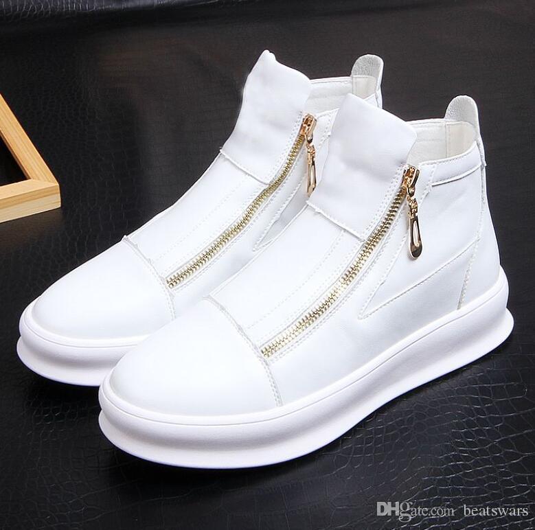 Los nuevos hombres de los zapatos ocasionales masculinos de los zapatos de cuero del diseñador de moda de alta zapatilla de deporte superior zapatos de los planos de los hombres del partido de las zapatillas de deporte de diseño