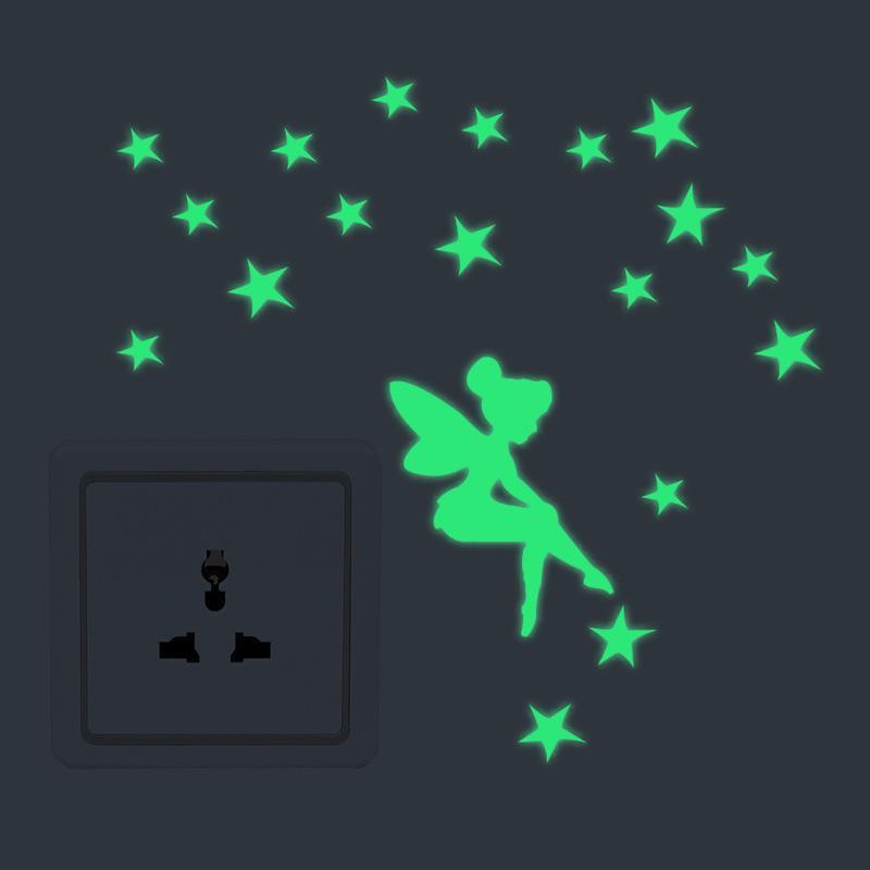 Fairy Saturn Night Light Switch Sticker Toilet Fluorescent Wall Sticker Bathroom Decoration Hot Selling Free Mail