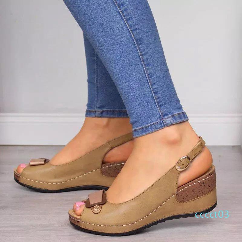Женщины сандалии клинья Женщины Peep Toe платформы Босоножки Кожа PU лодыжки пряжки ремешка дамы Летняя обувь Женщина Плюс Размер ct3
