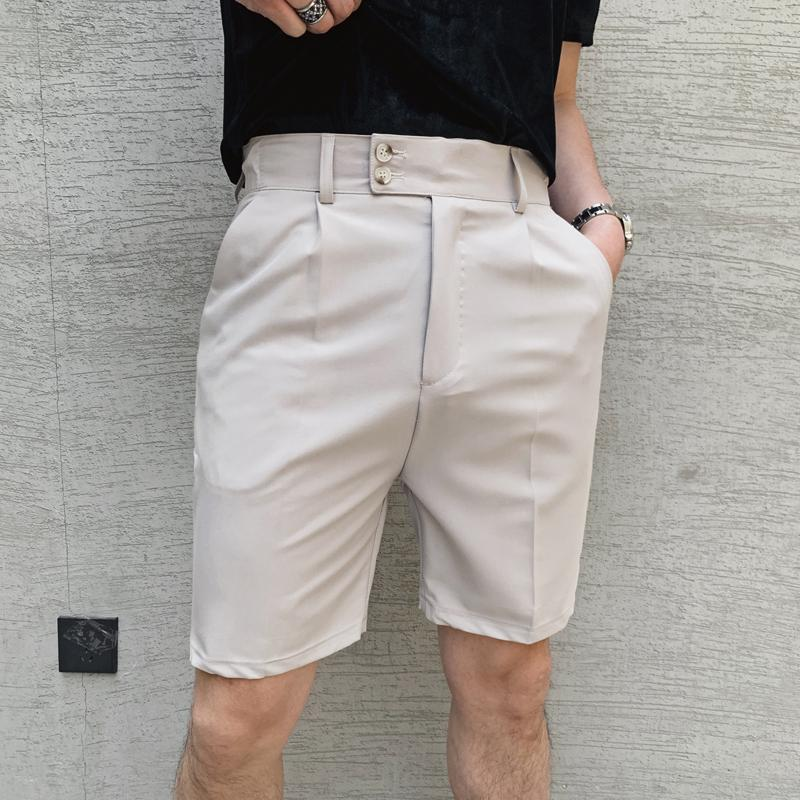 Мужские костюмы Blazers Пятая длина брюки мужские элегантные обрезанные двойные кнопки дизайнерские джентльмены шорты летом бежевый старинный