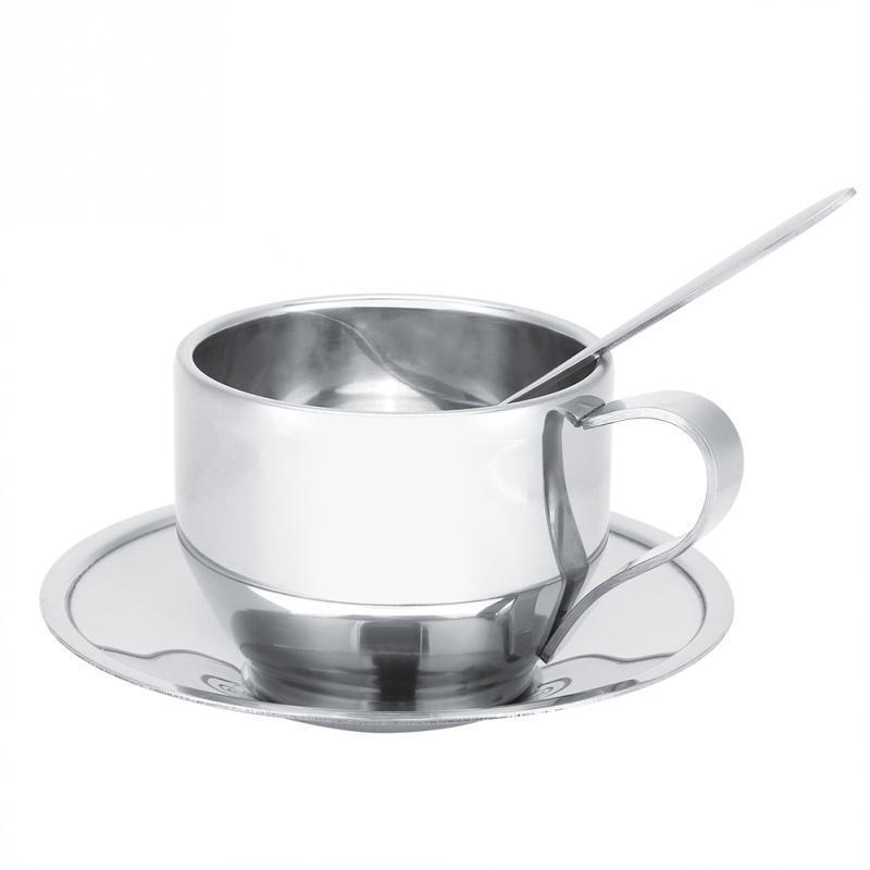 Caneca do leite do aço inoxidável isolados Coffee Cup Double Wall Chá com Set Caneca Pires Louça isolamento #