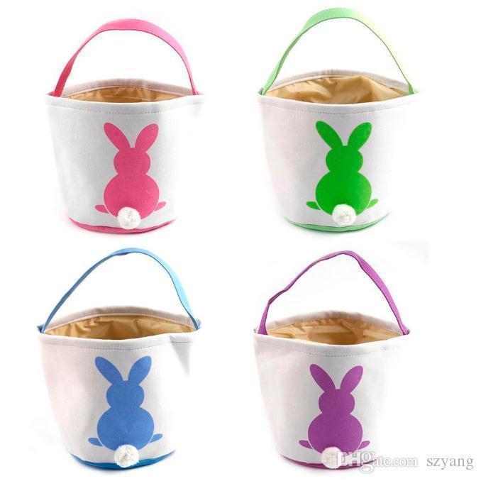 آذان أرنب عيد الفصح سلة حقيبة قماش لون المزيج سلة عيد الفصح آذان أرنب أكياس للأطفال هدية دلو الكرتون الأرنب الحامل البيض حقيبة SN2568