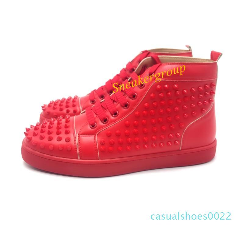 En Tasarımcı Erkekler Kadınlar Kırmızı Alt Parti hakiki ışıltılı Alt Çivili Dikenler Flats Ayakkabı Moda lüks gündelik Ayakkabı C22