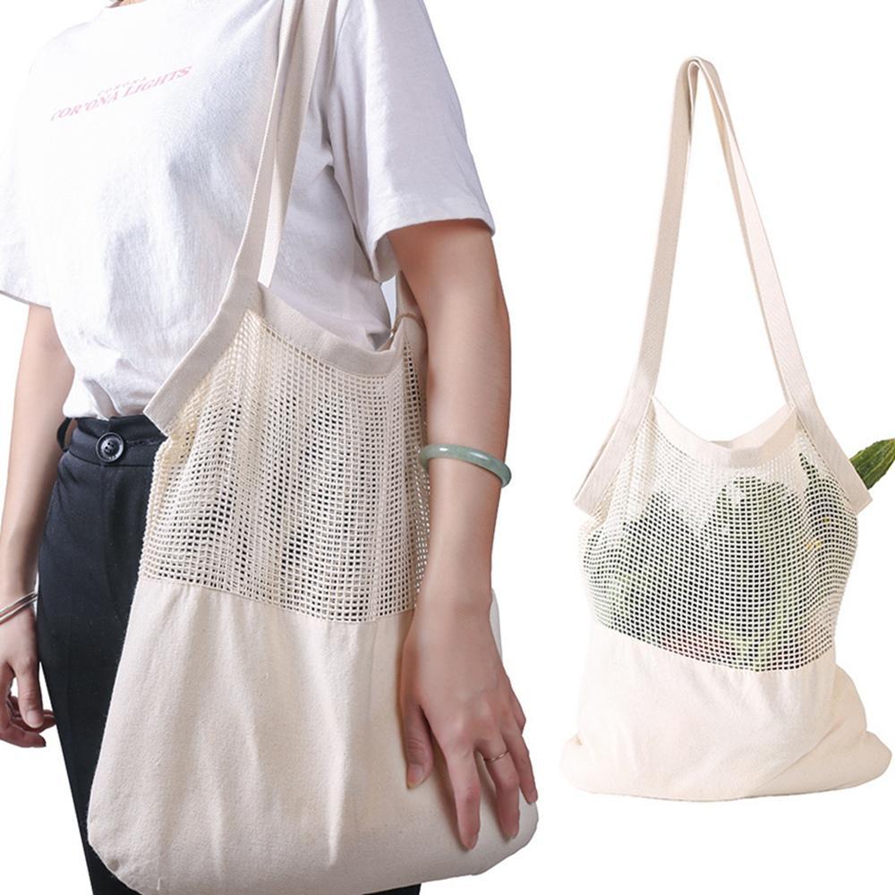 Mesh Net Turtle Bag String Shoulder Bag Reusable Fruit Storage Handbag Foldable